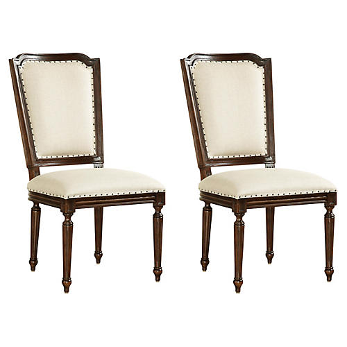Beige Dalton Side Chair, Pair