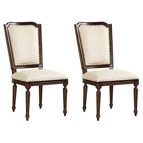 S/2 Dalton Side Chairs, Beige