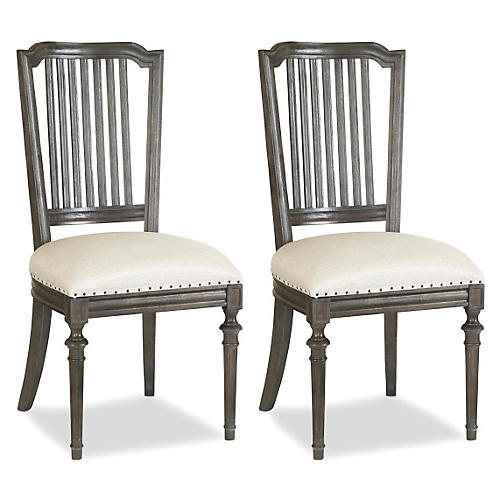 Linen Side Chair, Pair