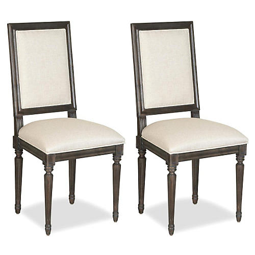 Linen Side Chairs, Pair