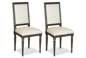 Linen Side Chairs, Pair*