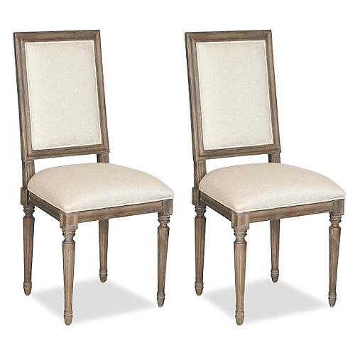 Natural Linen Side Chair, Pair