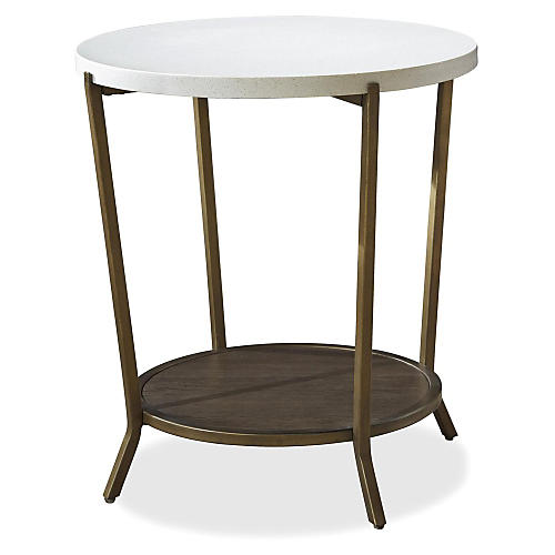Callie Round Side Table, White/Steel