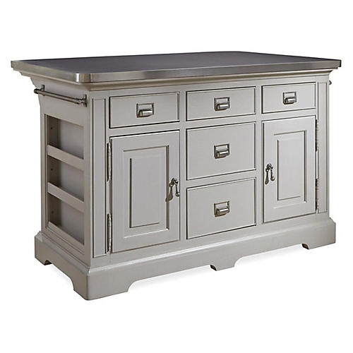 Bedford Kitchen Island, Cobblestone Gray