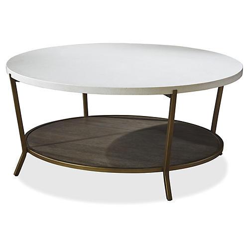 Tilly 2-Shelf Coffee Table, Stone/Oak