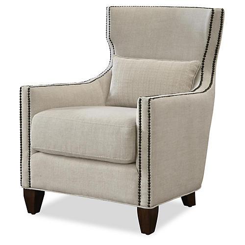 Nicole Linen Armchair, Beige Linen