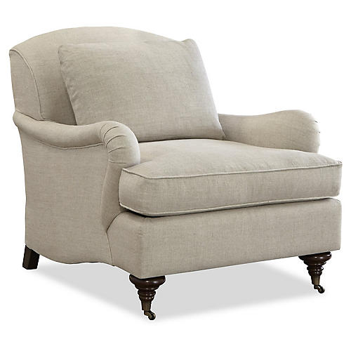 Henry Club Chair, Beige Linen