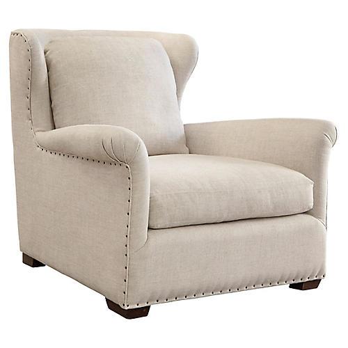 Quinn Wingback Linen Chair, Beige