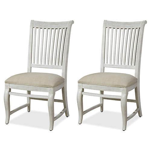 Cora Linen Side Chairs, Pair