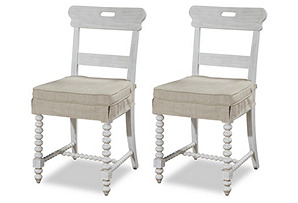 Waverly Linen Kitchen Chair, Pair