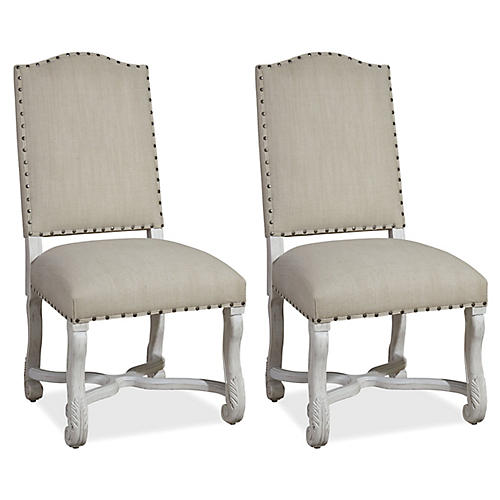 Landry Linen Side Chairs, Pair