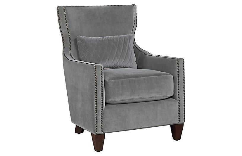 Eloise Accent Chair - Gray Velvet