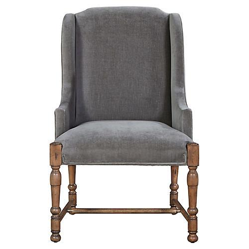 Sophia Velvet Armchair, Gray