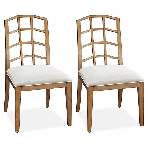 S/2 Moderne Muse Darby Side Chairs, Natural