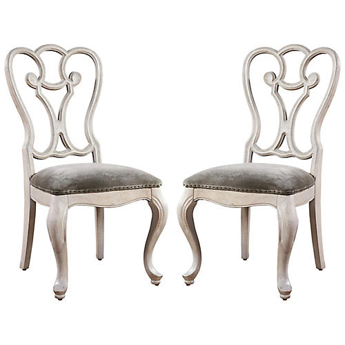 S/2 Elan Side Chairs, Whitewash