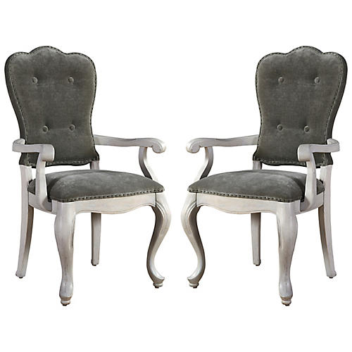 S/2 Elan Armchairs, Whitewash