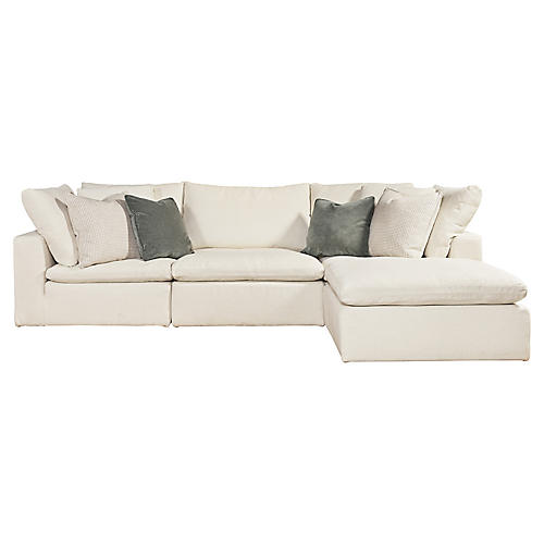 Palmer Right-Facing Sectional, White Crypton