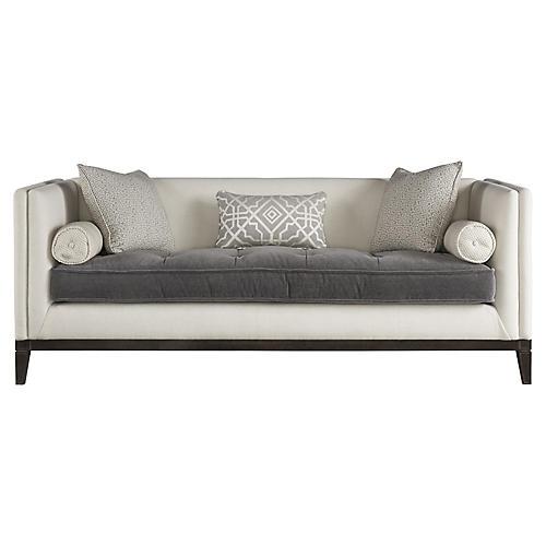 Hartley Tufted Sofa, White Velvet