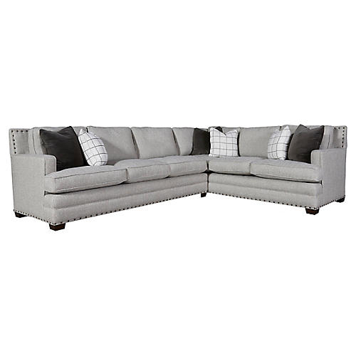 Riley Left-Facing Sectional, Gray Herringbone