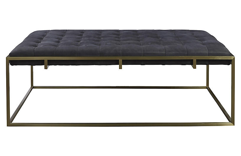 Travers Tufted Tail Ottoman Black Leather Ottomans