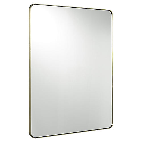 Modern Wall Mirror, Brushed Brass