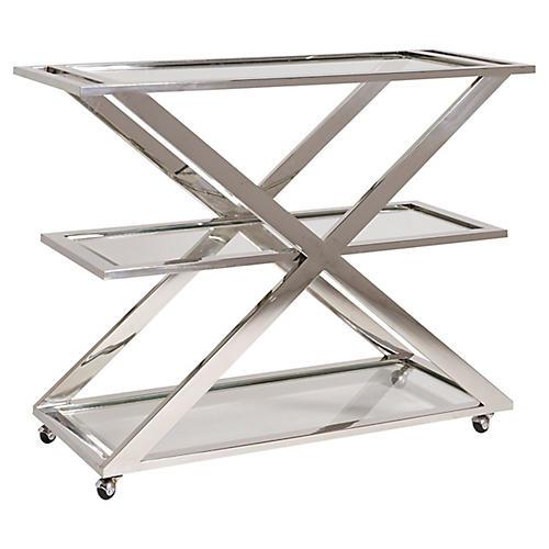 Draper Bar Cart, Silver