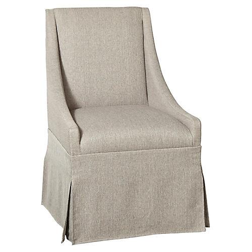 Towsend Skirted Armchair, Sky Silver