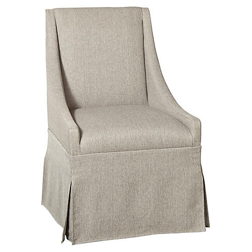 Towsend Skirted Armchair, Silver Gray Linen