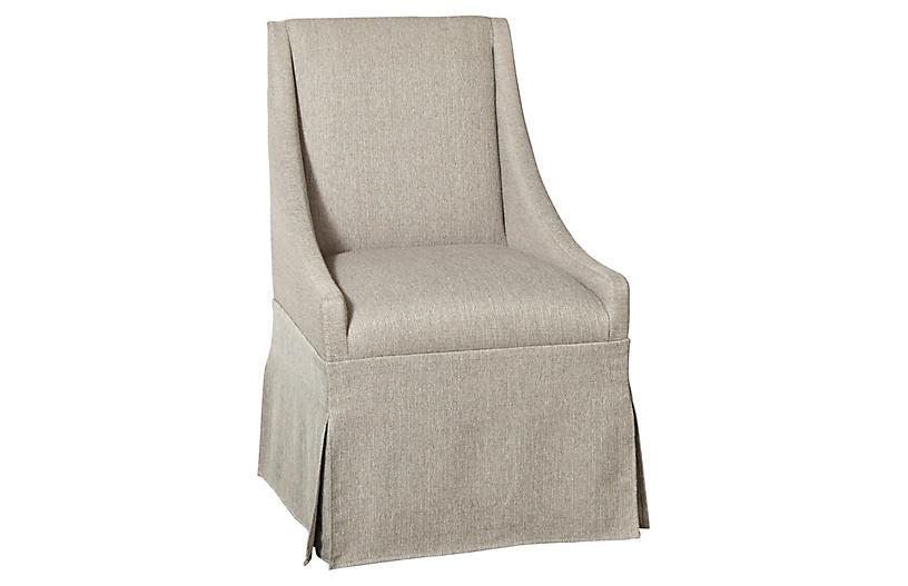 Towsend Skirted Armchair, Silver Gray Linen