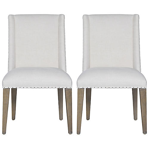 S/2 Tyndall Side Chairs, White