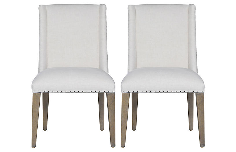 S/2 Tyndall Side Chairs, Ivory/Charcoal