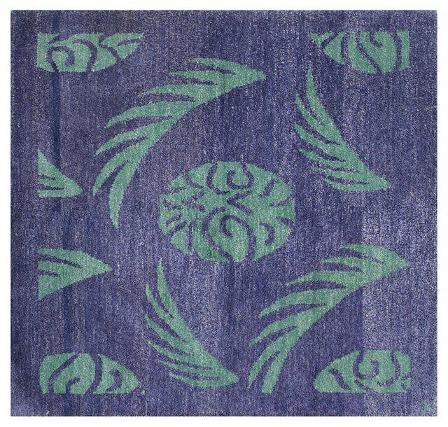 3' Square Havana II Rug, Purple/Sea Foam