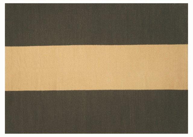 "5'1"" x 7' Stripe Soumak Rug, Moss/Beige"