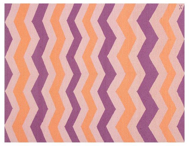 "5'x6'6"" Sasha Soumak Rug, Purple/Orange"