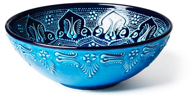 Hand-Painted Serving Bowl, Blue