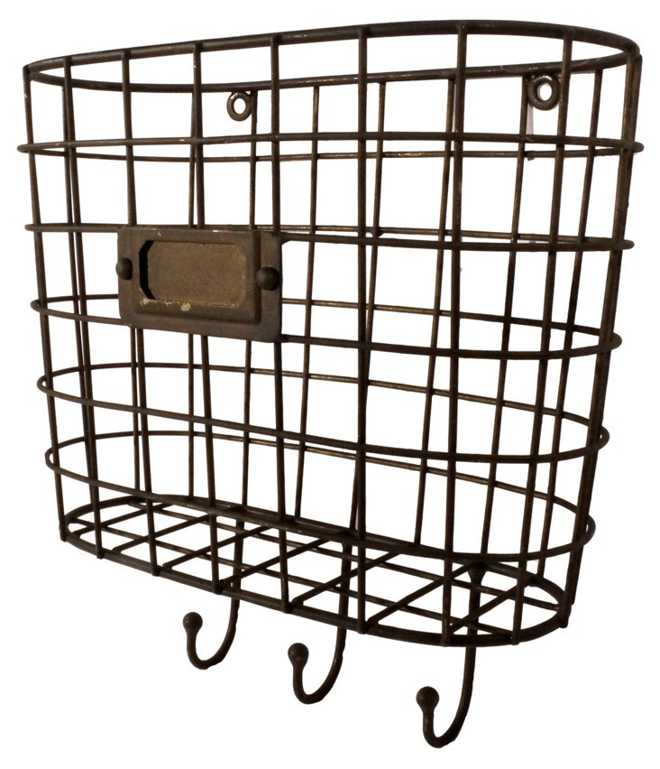 Metal Wall Basket w/ Hooks