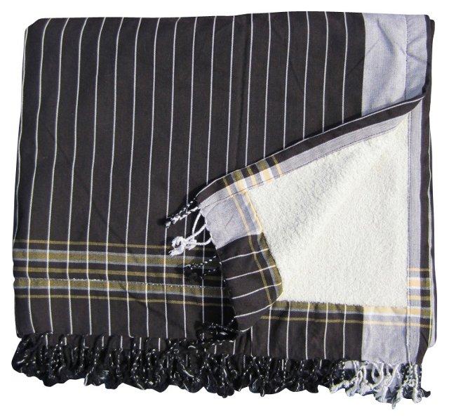 Sarong Towel, Black Pinstripe