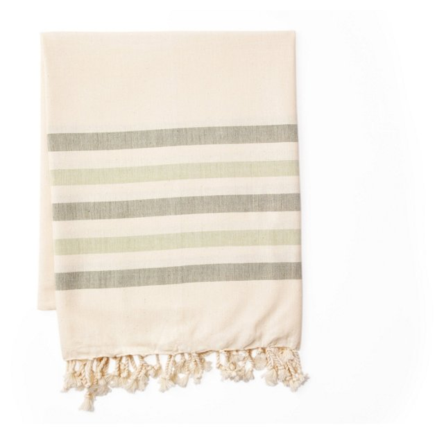 Hammam Towel, Bicolore Green