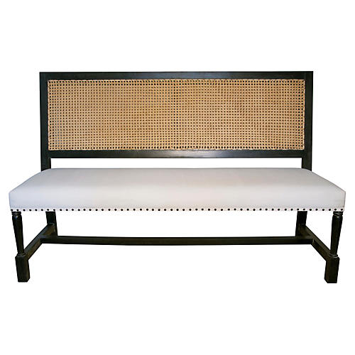 Colonial Caning Bench, Black
