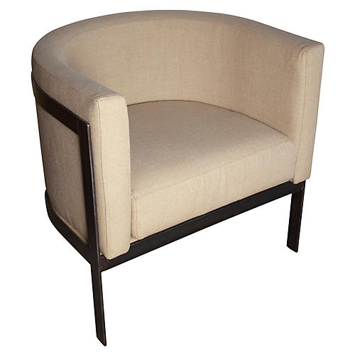 Lisbon Club Chair, Linen/Bronze