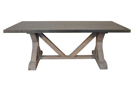X-Base Table with Zinc Top, Vintage Gray