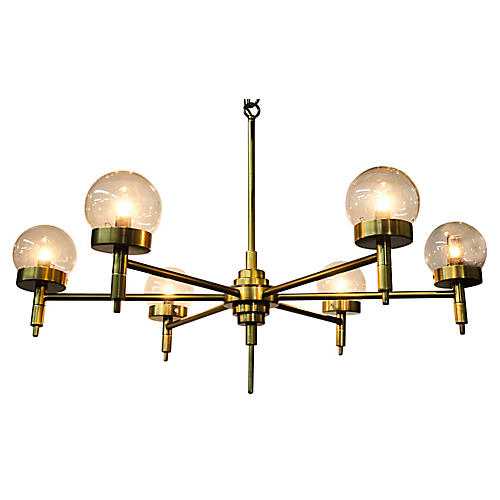 Leslie Chandelier, Antiqued Brass