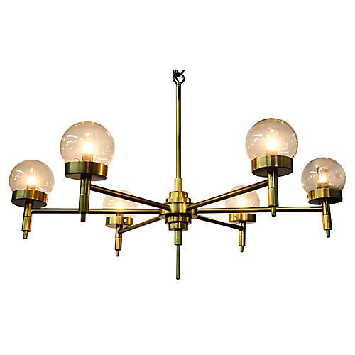 Leslie Chandelier, Antiqued Brass