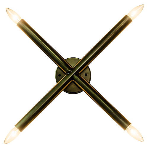 Cross Sconce, Antiqued Brass