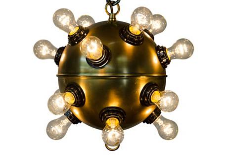Mine Pendant, Antiqued Brass