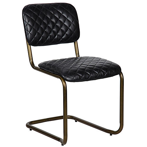 Dianne Side Chair, Black Leather