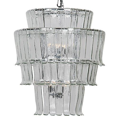 Villa Glass Chandelier, Chrome
