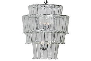 Villa Glass Chandelier, Chrome*