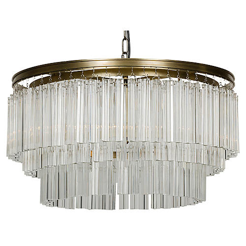 Round Deco Chandelier, Brass