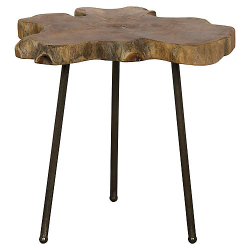 Slab Slice Side Table, Natural/Black